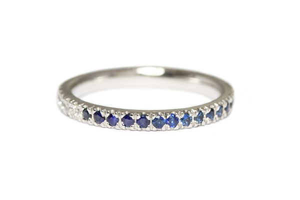 18ct white gold with blue and white sapphires