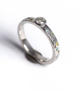 18ct Fairtrade white gold central diamond and yellow sapphires and blue topaz