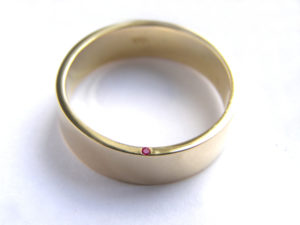 22ct Gold and Secret Ruby Wedding Band