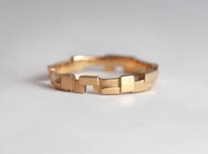 18ct Fairtrade rose gold block design Zoe Pook Jewellery