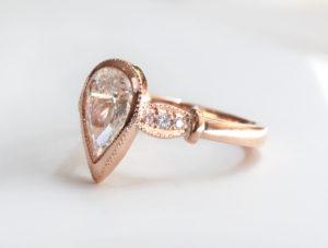 Pear diamond rose gold Zoe Pook Jewellery Fairtrade gold