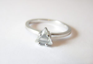 Rough macle diamond in 18ct Fairtrade white gold by Zoe Pook Jewellery