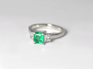18ct Fairtrade white gold with emerald and side diamonds Zoe Pook Jewellery