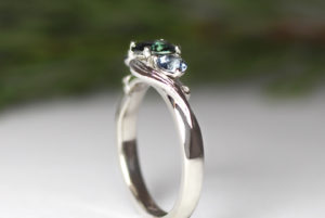 Platinum with sapphire and spinels
