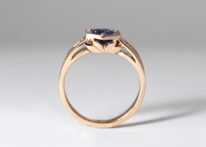 18ct Fairtrade gold with blue sapphire by Zoe Pook Jewellery