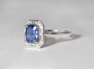 18ct Fairtrade white gold with sapphire and diamonds by Zoe Pook Jewellery