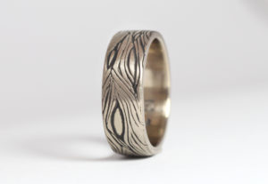 18ct Fairtrade white gold bespoke texture by Zoe Pook Jewellery