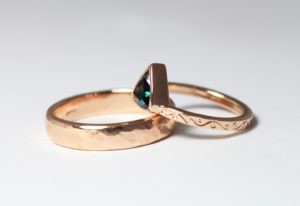 18ct Fairtrade rose gold wedding set with trilliant sapphire by Zoe Pook Jewellery