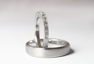 18ct Fairtrade white gold with diamonds and millgrain by Zoe Pook Jewellery
