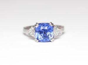 18ct Fairtrade white gold with ceylon sapphire and diamonds by Zoe Pook Jewellery