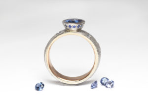 18ct Fairtrade gold with sapphires by Zoe Pook Jewellery