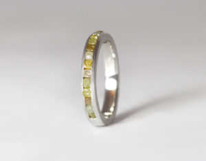 18ct Fairtrade white gold with rough diamonds by Zoe Pook Jewellery