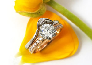 18ct Fairtrade white gold in bespoke lily design by Zoe Pook Jewellery