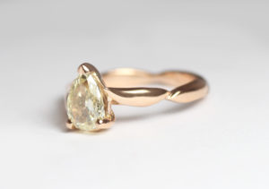 18ct Fairtrade rose gold with yellow pear diamond in bespoke design by Zoe Pook Jewellery