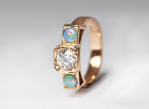 18ct Fairtrade rose gold with vintage diamond and opals by Zoe Pook Jewellery
