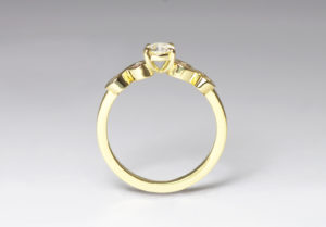 18ct Fairtrade gold with pink and white diamonds by Zoe Pook Jewellery