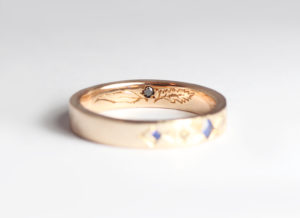 18ct Fairtrade rose gold with sapphires, diamonds and engraving by Zoe Pook Jewellery