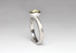 18ct Fairtrade white gold with rough diamond by Zoe Pook Jewellery