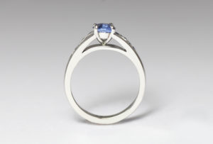18ct Fairtrade white gold with sapphires