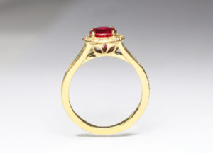 Ruby and diamonds in 18ct Fairtrade gold