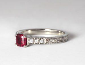 Recycled palladium with ruby and moissanites