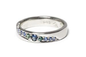 Platinum with diamonds and sapphires