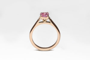 18ct Fairtrade rose gold with sapphire and diamonds