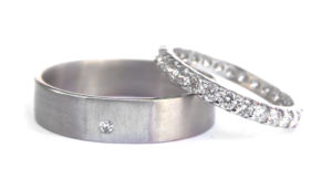 18ct Ethical White Gold and Vintage Diamond Bands