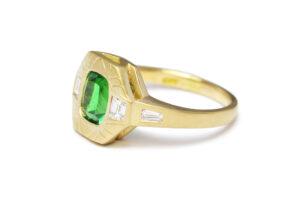 Tsavorite with diamonds in yellow gold