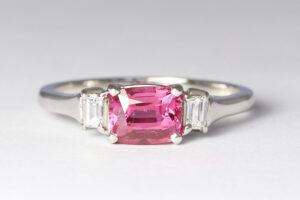 Pink sapphire with diamonds