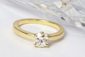Yellow gold diamond solitaire