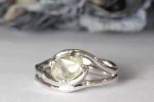 rough diamond white gold